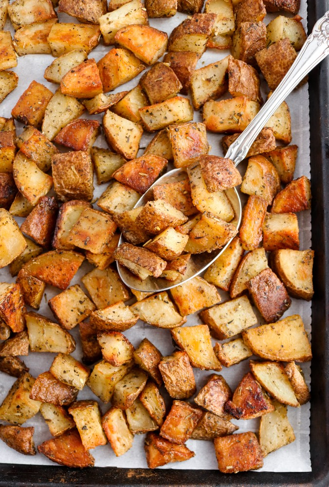 Every good cook needs a solid roasted potato recipe in their arsenal, and this is ours! It's made with only six simple ingredients and comes out perfectly crispy + flavorful every. single. time. #vegan #potatoes #veganrecipes #glutenfree #plantbased