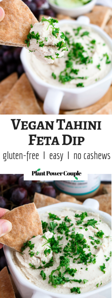 This vegan tahini feta dip is quick, uncomplicated, mind-blowingly flavorful, and the perfect spring appetizer. All you need is a food processor, 10 minutes, and 11 simple ingredients. #vegan #plantbased #appetizer #dip #tofu // plantpowercouple.com