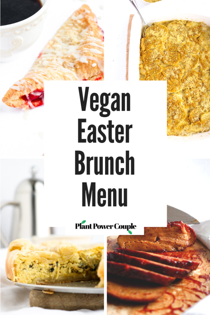 Our (Actual) Vegan Easter Brunch Menu including homemade seitan ham, au gratin potatoes, tofu quiche, vegan feta cheese, cherry turnovers, and more! #vegan #easter #plantbased #vegetarian #brunch // plantpowercouple.com