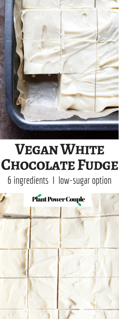 This 6-ingredient Vegan White Chocolate Fudge is the dessert of your summer dreams! It's decadent and delicious, takes about 15 minutes of active time to make + even includes a low(er) sugar trick we love. #vegan #dairyfree #fudge #whitechocolate #veganchocolate // plantpowercouple.com