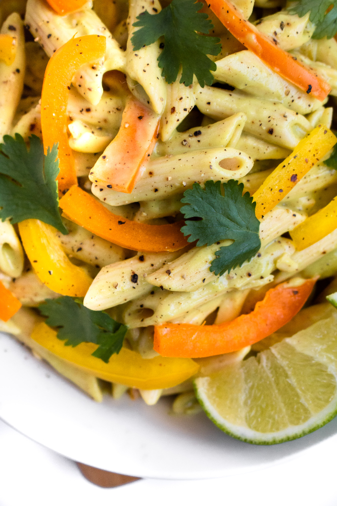 Vegan Tequila Lime Pasta recipe is going to be your favorite summer dinner! It's easy to make, healthy, and FULL of fun summer flavor. Serve it cold as a side at all your outdoor BBQs or hot as a main dish with some grilled summer veg. #vegan #dinner #pasta #glutenfree // plantpowercouple.com