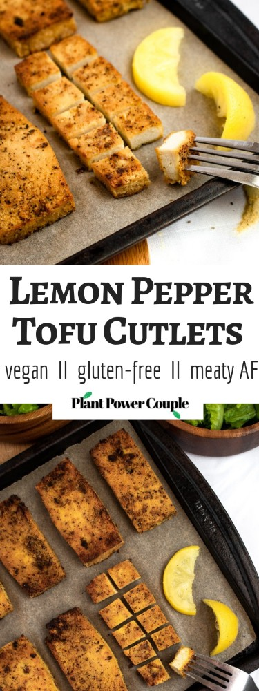 Lemon Pepper Tofu Cutlets are the perfect meal prep staple! Slice 'em up for salads, use them for sandwiches, or serve 'em over a mountain of rice for a filling and easy vegan dinner! #vegan #tofu #veganrecipe #plantbased #mealprep