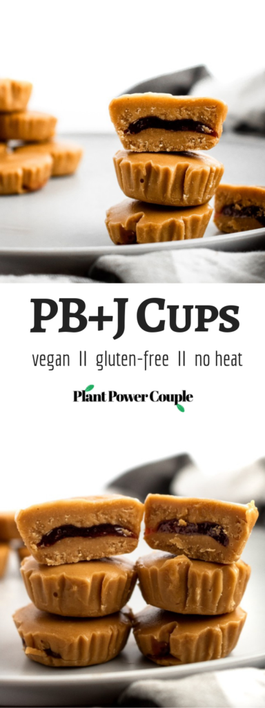 PB + J meets peanut butter cup in this killer combo of classic comfort foods! These delightful PB+J Cups are easy to make with only 4 ingredients, simple methods, and no heat required. They're the ultimate summer sweet for your kids or the kid in us all! #vegan #dairyfree #vegancandy #veganrecipes #glutenfree //plantpowercouple.com