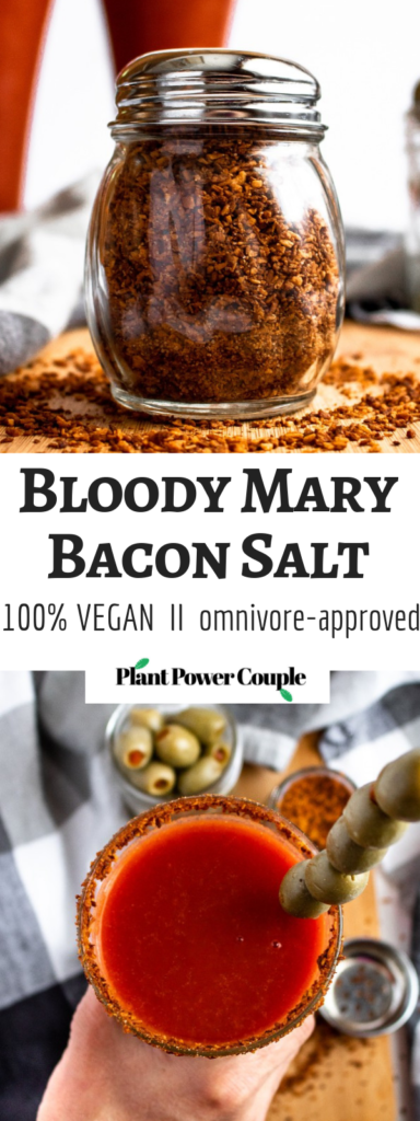 Level-up your cocktail game with this Vegan Bloody Mary Bacon Salt! Made from marinated coconut, this crumbly vegan bacon topping is perfect for your morning tofu scramble or lining the rim of your Bloody Mary cocktail. #vegan #coconut #bacon #veganbacon #plantbased // plantpowercouple.com
