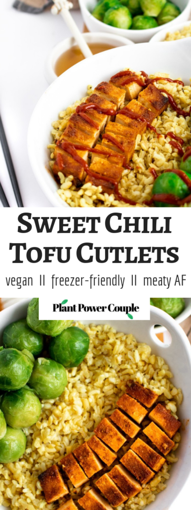 Sweet Chili Tofu Cutlets: Get this simple tofu recipe on your weekly rotation STAT! Tender, frozen-and-pressed tofu is marinated in an intoxicating combination of spicy sriracha and sweet agave with a kick of fresh garlic and baked 'til crisp on the outside + meaty on the inside. #vegan #tofu #tofumarinade # vegetarian // plantpowercouple.com