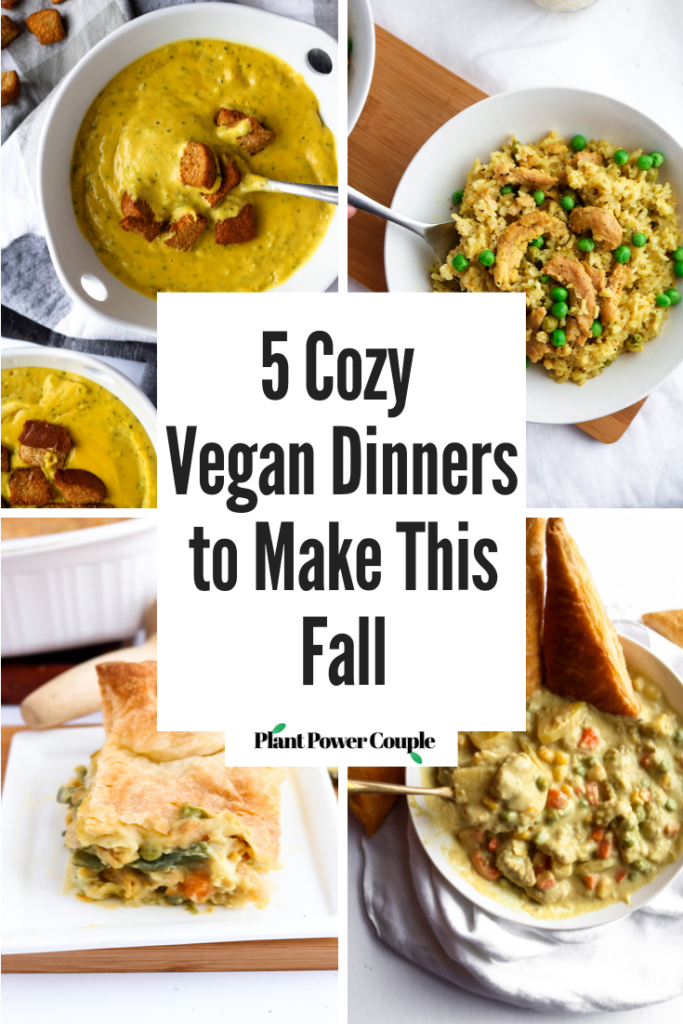 These 5 vegan dinner recipes are easy to make, full of healthy veggies, and as cozy as a bowl full of hugs. They're freezer-friendly, perfect for meal prep, and choices the whole family will love! #vegan #vegandinner #veganrecipes #plantbased // plantpowercouple.com