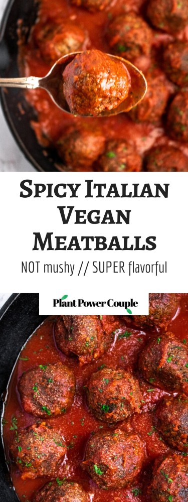 The BEST Vegan Meatballs made with TVP. They're SUPER meaty, full of spicy Italian flavor, and NOT mushy - our #vegan #meatball dreams come true! #vegetarian #veganmeatballs #plantbased #plantpowercouple