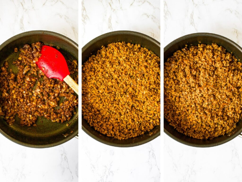 Three photos showing the first three steps to making vegan meatballs: saute onions and garlic in olive oil and sprinkle with spices. Add TVP, water, and soy sauce. Stir, cover the pot, and let the TVP rehydrate.
