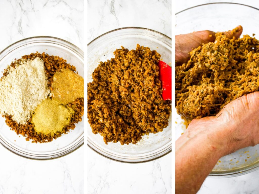 3 photos showing the 3 steps to making TVP meatball mix: Step 1 shows a rehydrated TVP mixture with vital wheat gluten, a flaxseed egg, and nutritional yeast. The second shows the same bowl after being stirred together. The third shows the stringy meaty texture of the mix after kneading.