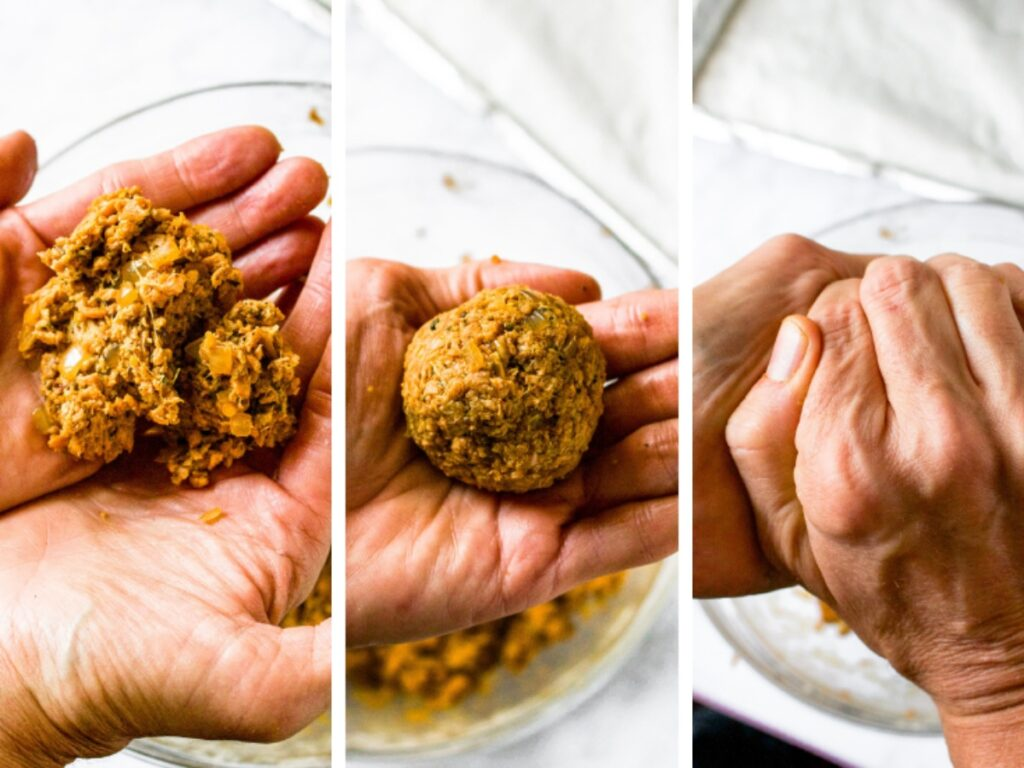 Three photos showing the 3 steps of how to form vegan meatballs: Take 1/4 cup of mixture in your hands, roll into a ball, and squeeze the ball tightly to make it compact.