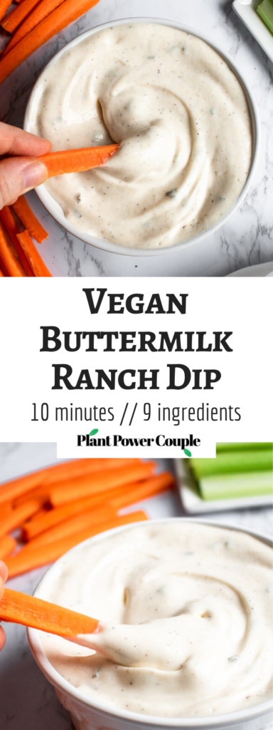 The vegan ranch dip takes 10 minutes, 1 bowl, and 9 staple ingredients. It's gluten-free, picky-eater-friendly, and makes a terrific quick + easy party appetizer! #vegan #ranch #plantpowercouple #veganappetizer // plantpowercouple.com