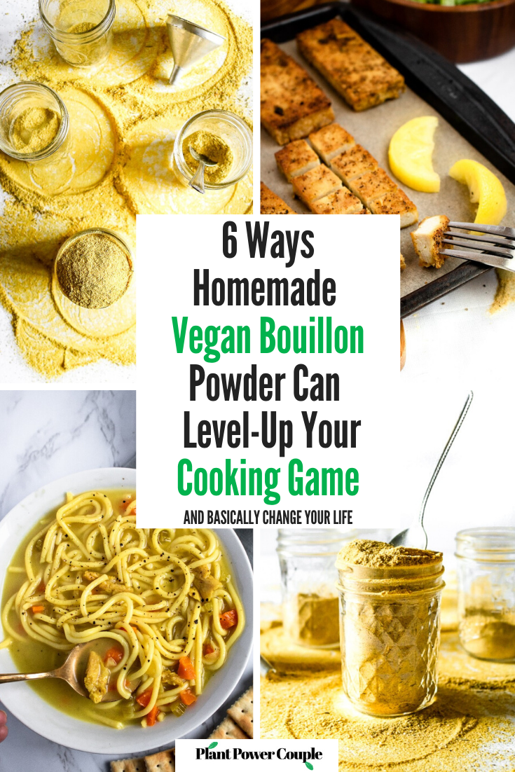 Our homemade vegan bouillon powder recipe is one of THE most popular recipes on our site AND in our own kitchen! This post is a list of every single recipe we have made using this bouillon powder along with our favorite tips and tricks for everyday use. #vegan #homemade #plantbased #plantpowercouple // plantpowercouple.com