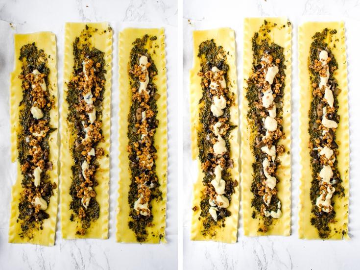 The process of making creamy vegan mushroom lasagna rolls.