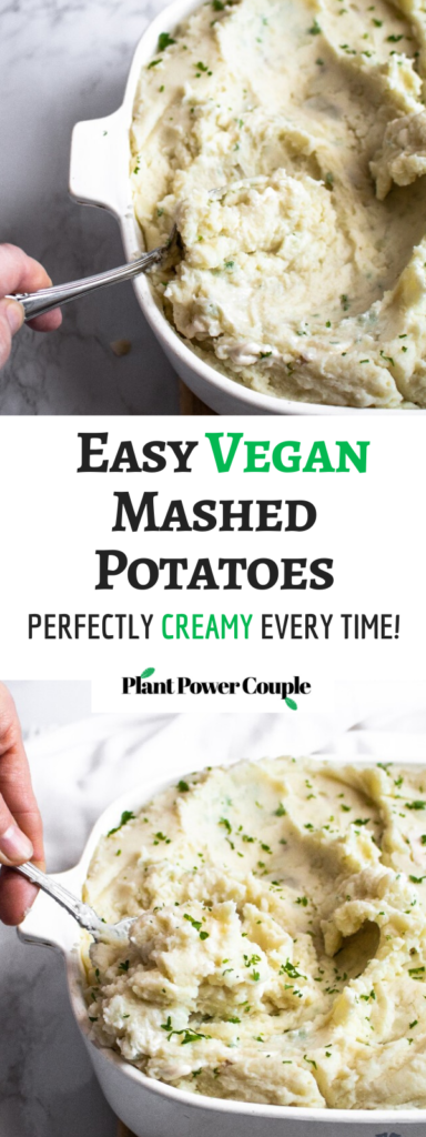 This is our go-to vegan mashed potato recipe for everything from holiday gatherings to our favorite comfort food dinners (like shepherds' pie + bangers and mash)! It requires only 4 basic ingredients and has a consistently creamy dreamy texture. #vegan #mashedpotatoes #veganmashedpotatoes #potatorecipes #veganrecipes #comfortfood #easyveganrecipes