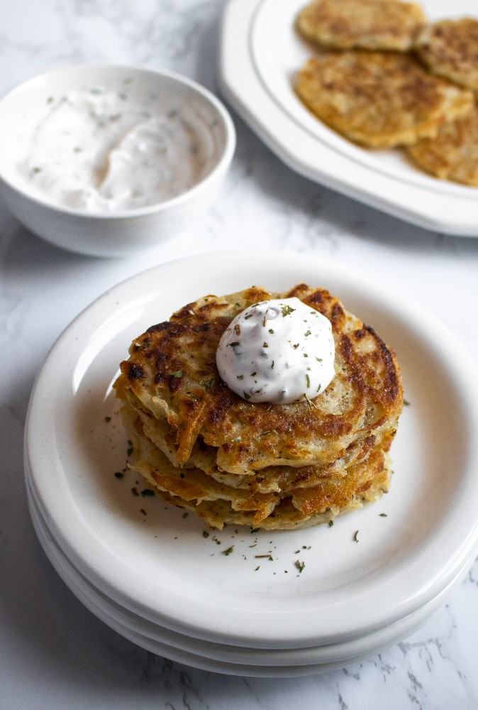 Easy vegan potato pancakes make a great side for a plant-based breakfast, dinner, or just snacking! A simple egg-free recipe with BIG flavor, requiring only 9 ingredients and basic methods. #vegan #eggfree #potato #potatopancake #potatorecipes #veganbreakfast #boxty #latkes