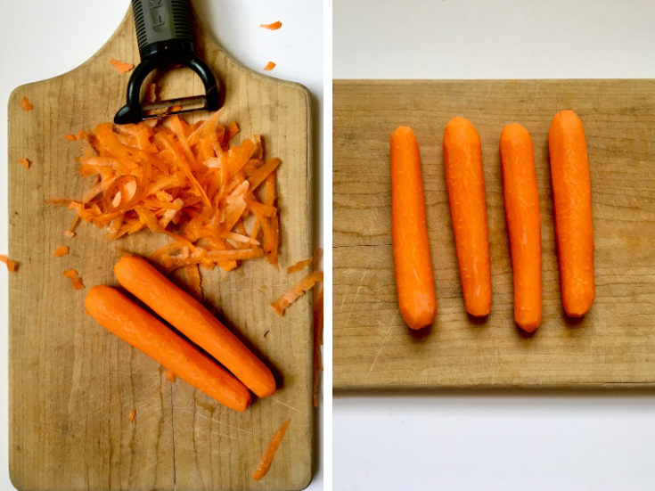 Carrot Dogs, step 1: Use a vegetable peeler to peel and shape your carrot dogs. Cut them down to bun size, peel them down so they're an even texture throughout, and round off the edges to make them look like hot dogs!