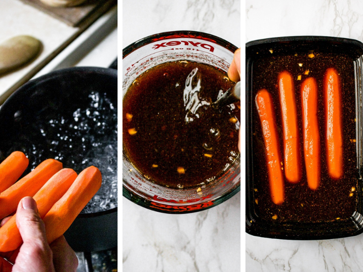 How to make carrot dogs, steps 2 and 3: Place carrots in boiling water and boil for 13-17 minutes or until fork-tender. Mix the marinade in a glass measuring cup. Marinate carrots in marinade for 24 hours.