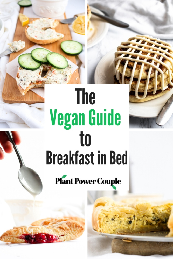 These are our FAVORITE vegan breakfast in bed recipes and tips. From savory to sweet, simple-but-delicious to extravagant-but-worth-it, we think you'll find a dynamite vegan breakfast recipe for everyone in this post! #vegan #veganbreakfast #veganrecipe #breakfastinbed #selfcare