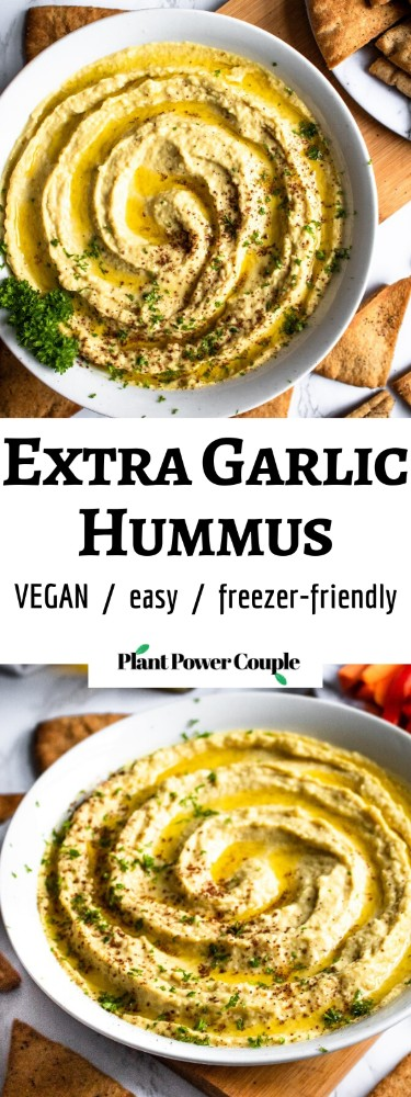 "This Extra Garlic Hummus (emphasis on the ""EXTRA"") is the perfect snack or appetizer for all our fellow garlic lovers out there! It's an easy-to-make 10-ingredient dip with a dynamite flavor and silky smooth texture that will not disappoint. #vegan #vegansnack #veganappetizer #plantbased #hummus #hummusrecipe #garlic #garlicrecipe"