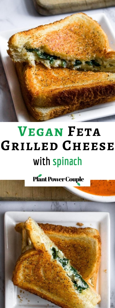 This vegan feta grilled cheese with spinach is our fun take on a classic grilled cheese and pairs perfectly with tomato soup. The easy recipe uses either our homemade tofu feta or one of the many store-bought vegan fetas now available. It will impress the pants off your next lunch guests! #vegan #vegancheese #veganfeta #vegangrilledcheese #dairyfree #grilledcheese #veganlunch #veganrecipe #easyveganrecipe #vegandinner #vegansandwich