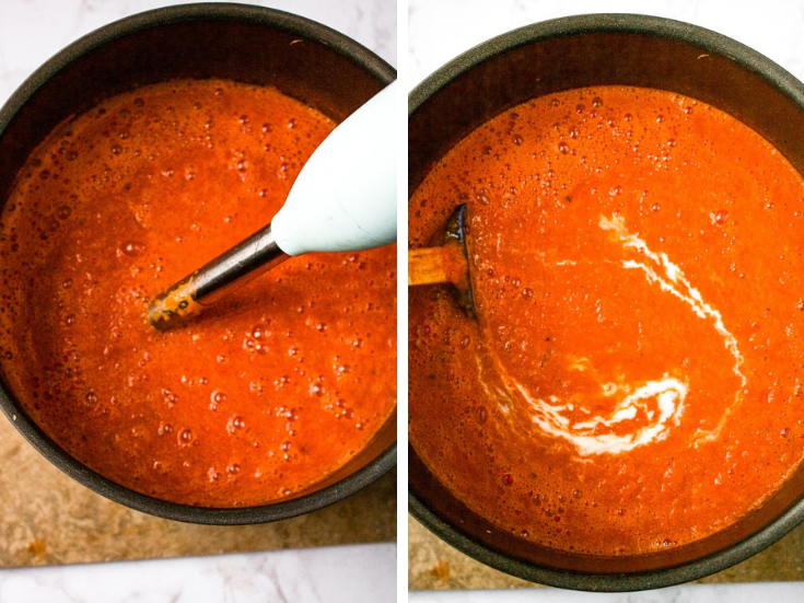 Behold: The creamiest, cheesiest, coziest homemade vegan tomato soup! It's an easy and healthy dinner recipe that can be made from either fresh tomatoes or canned tomatoes. It's freezer-friendly, perfect for meal prep, and has a rich creamy texture. You'll be shocked it's dairy-free! #vegan #vegansoup #tomatosoup #dairyfree #plantbased #homemadetomatosoup #pantrystaples #freezerfriendly #easyveganrecipe #freshtomatoes #veganmealprep