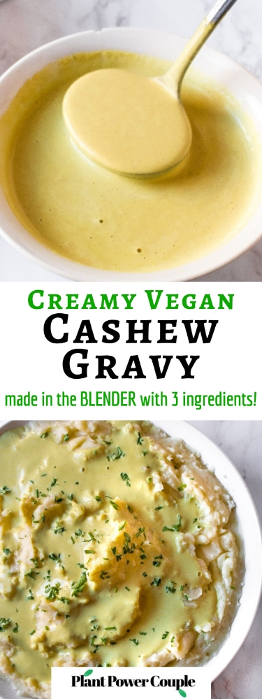 This easy vegan cashew gravy takes 10 minutes, uses 3 ingredients, and is made in your blender. You don't even need to turn on your stove! This quick side dish is the perfect vegetarian gravy for biscuits, waffles, or mashed potatoes. It's great for Thanksgiving or Christmas and appeals to lots of dietary needs because it's gluten-free, dairy-free, oil-free but still FULL flavor.