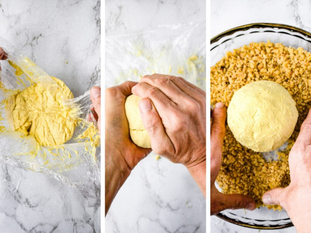 The last three steps for making a vegan cheese ball: Unwrap the dairy free cheese ball from the plastic wrap, reshape it with your hands, and coat it in chopped walnuts.