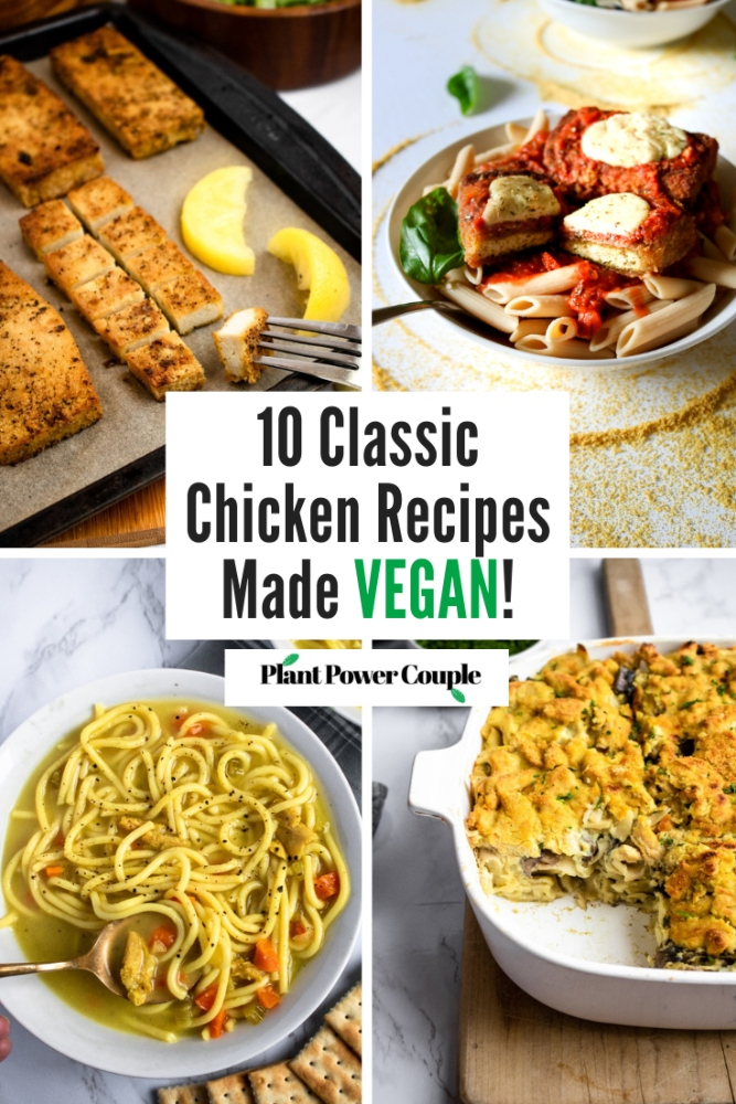 These vegan chicken recipes will blow your mind! In this post, we'll be going over the basics of how to make your favorite chicken recipes vegan. From simple vegetarian chicken soups and stews to creamy, cozy and dairy-free casseroles, this is your guide for making plant-based chicken dishes with great flavor AND texture.