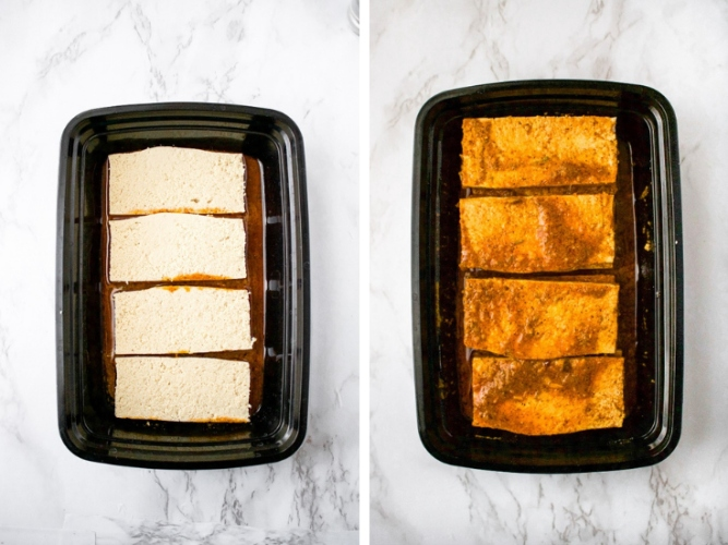 These Tequila Lime Tofu Cutlets are perfect for tofu tacos, quesadillas, or Mexican-inspired dinner bowls and salads! They are easy to make with a quick tequila-infused chili lime marinade, and slow-baked until they are crispy on the outside and meaty on the inside! You'll love to add this tofu recipe for your weekly meal prep. Oh and they are freezer-friendly too!