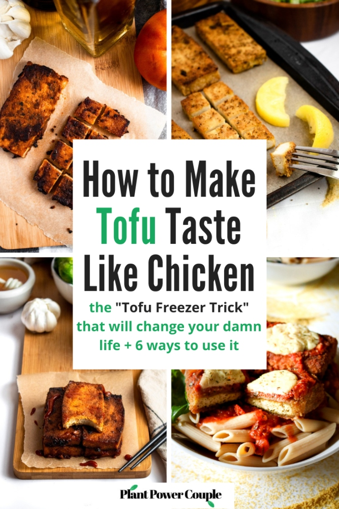 "In this post, we'll share how we prepare and cook tofu to taste and FEEL just like chicken! The ""Tofu Freezer Trick"" is a life-changing method that is a staple in our vegan kitchen. Tofu is frozen and thawed creating a porous meaty texture that will blow your mind. Then, we soak it in a flavorful tofu marinade and slow bake it in the oven until the tofu is crispy on the outside and tender (NOT squishy) on the inside. Use this easy tofu trick to make everything from healthy tofu nuggets, crispy tofu sandwiches, stir fry tofu, and the BEST tofu chicken for salads. We've included 6 of our favorite tofu recipes that use this method to get you started!"