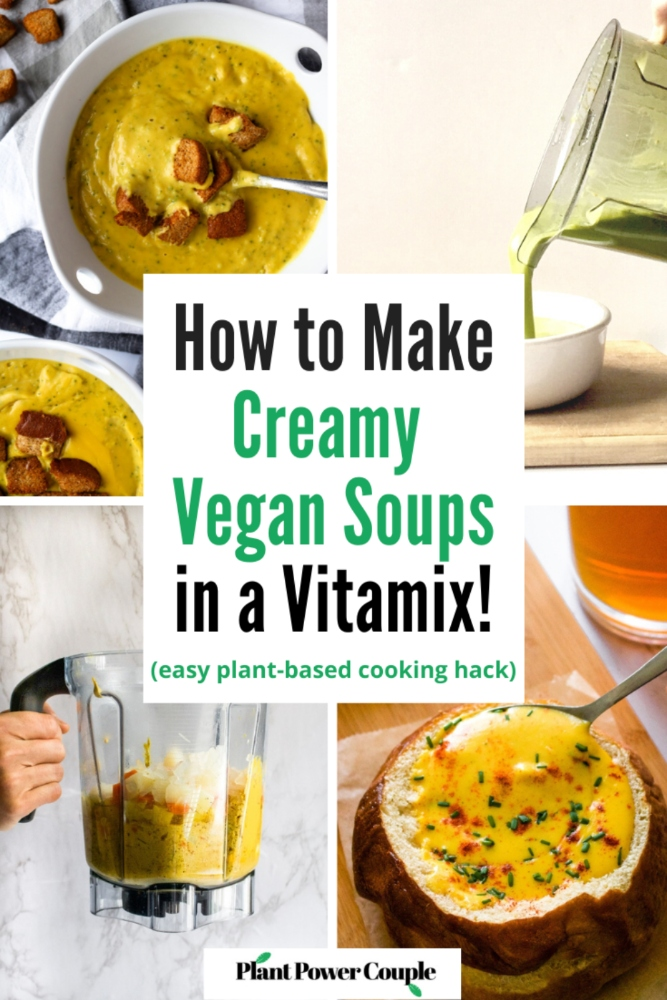 "In this post, we'll show you how to use your Vitamix or other high-powered blender to make the BEST creamy vegan ""blender soups"". We'll also share some of our favorite dairy-free blender soup recipes - like a creamy vegan mushroom soup and cheesy broccoli soup! This easy healthy dinner hack creates the dreamiest pureed vegan soups that are packed with nutrients but taste like a warm, cozy, and delicious hug. And the best part: They are tremendously easy to make AND clean up!"