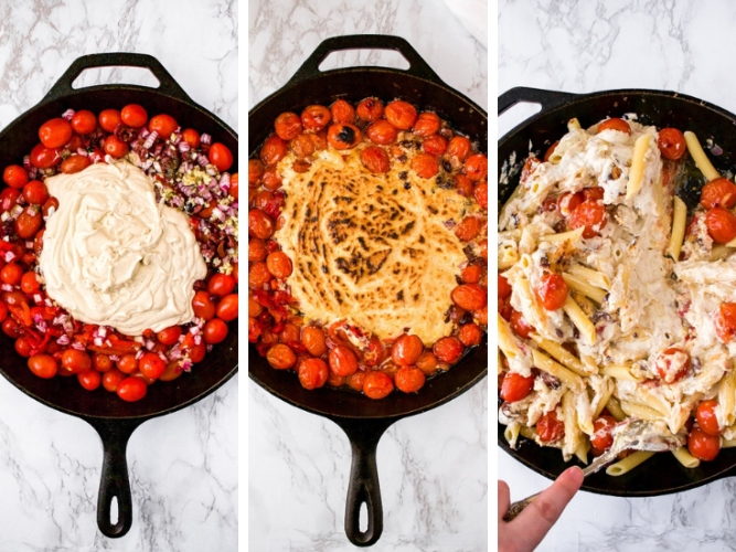 This Vegan Baked Feta Pasta is a Mediterranean-inspired, veganized version of the viral TikTok pasta recipe made famous by Finnish food blogger Jenni Häyrinen. In our version, we take it to the next level with flavors like tahini, kalamata olives, and roasted red peppers. Made with a luxurious homemade vegan feta cheese sauce, this recipe is not only a cheaper version than using store-bought vegan feta cheese, but it's healthier and allergy-friendly too