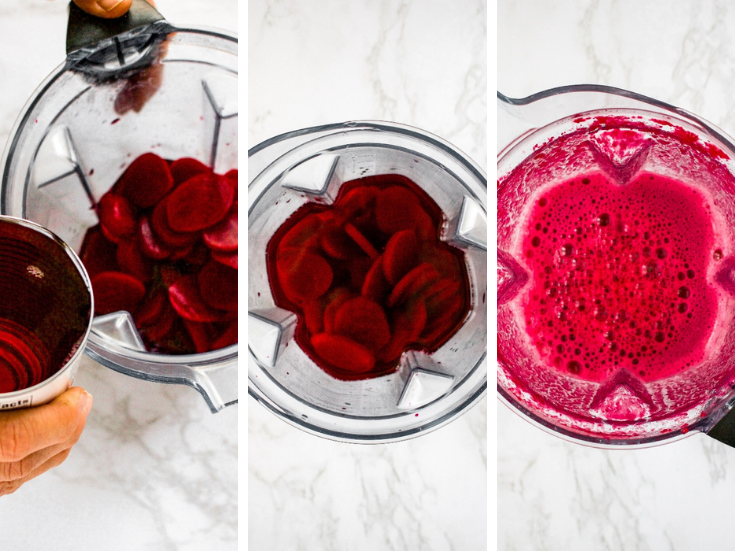 Step by step photos showing how to make beet puree for vegan burgers.