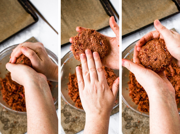 Step-by-step photos of how to form the best vegan burgers that won't fall apart while they cook: Roll the mixture into a ball and squeeze. Flatten gently. Clean up the edges and fix any cracks that formed.