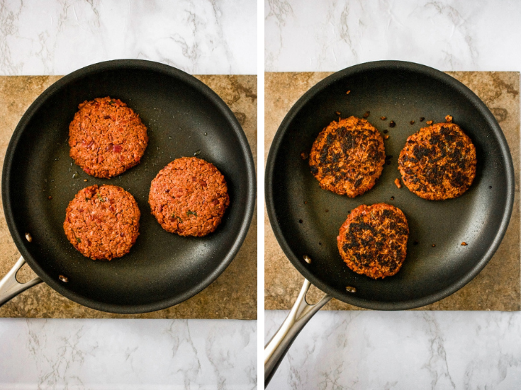 Three pan-fried vegan burgers before and after in the pan.