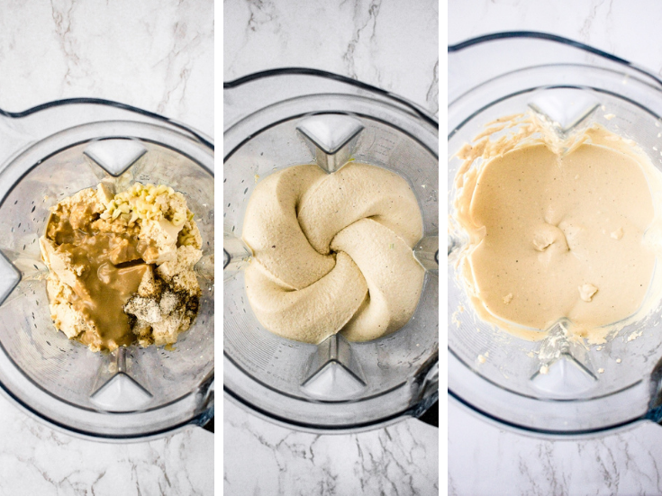 The process of blending your tofu cheese mixture. First photo shows all the ingredients in your high-powered blender or food processor. Middle photo shows what it looks like after blending a few minutes - the mixture is still a little grainy. Final photo shows the finished tofu cheese mixture where the refined coconut oil is fully emulsified.