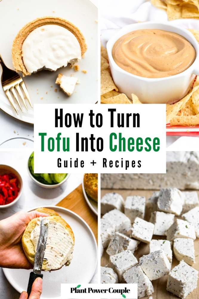 Tofu is a great, affordable, nut-free base for homemade vegan cheese recipes. We use this tofu cheese method to make everything from dairy-free cream cheese to vegan cheese sauce to tofu cheesecake. You can use tofu cheeses on pizza or nachos, and the best part: It's super easy to make. In this post, we're going to share our best tofu cheese recipes as well as some tips and tricks for using our methods to make your own tofu cheese! #vegancheese #tofu #tofurecipes #dairyfree