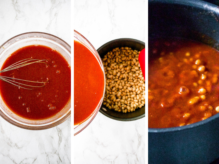 Three photos showing the process of how to make healthy vegan baked beans: Start by whisking together tomato paste, spices, and hot water. Pour this mixture over beans. Simmer everything until thick.