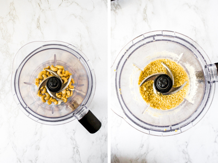 First step in making vegan pesto: Add the raw cashews to a blender and pulse until they're a powdery consistency.
