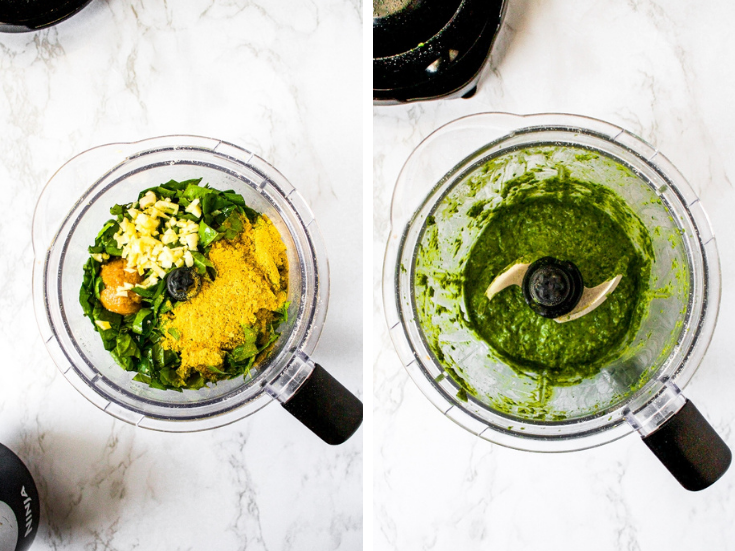 Step 2 for making vegan pesto: add the shredded spinach and fresh basil, minced garlic, white miso paste, nutritional yeast, olive oil, and sea salt to a food processor and blend until combined and a nice smooth sauce texture is achieved.