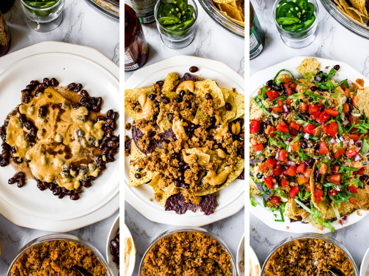 A process grid showing how to make the best vegan nachos - the first shot has a layer of dairy free nacho cheese sauce and black beans, the second has a layer of corn chips, vegan cheese, black beans, and walnut meat. The final shot shows a layer of diced tomatoes and shredded lettuce on top.