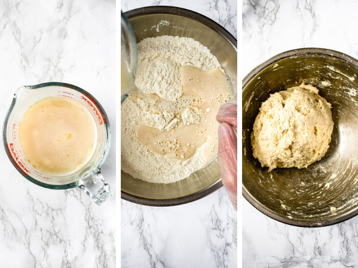 3 step by step shots showing the process of making homemade vegan bagel dough. Mix the warm water sugar and yeast, combine dry and wet ingredients, stir until the sides of the bowl aren't floury.