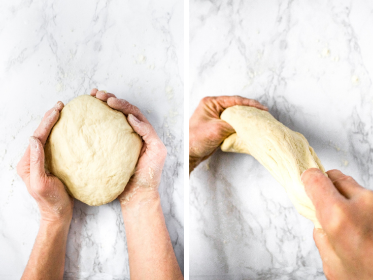 2 side by side photos showing the process of kneading eggless bagel dough for homemade bagels