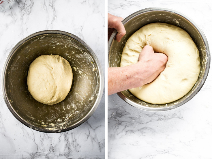 Add oil to the sides of the bowl so it runs down. This will help the dough from sticking to the bowl as it proves and rises. Place the dough ball in the oiled bowl, cover, and set in a warm dry place to prove 60-90 minutes. Mixture should double in size.