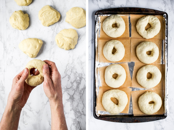 Step by step photo tutorial showing how to shape homemade vegan bagels