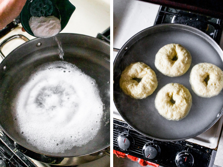 Two photos showing the process of boiling bagel dough in a bagel bath